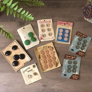 Eight Cards Of Vintage Buttons Neat Decor Pieces